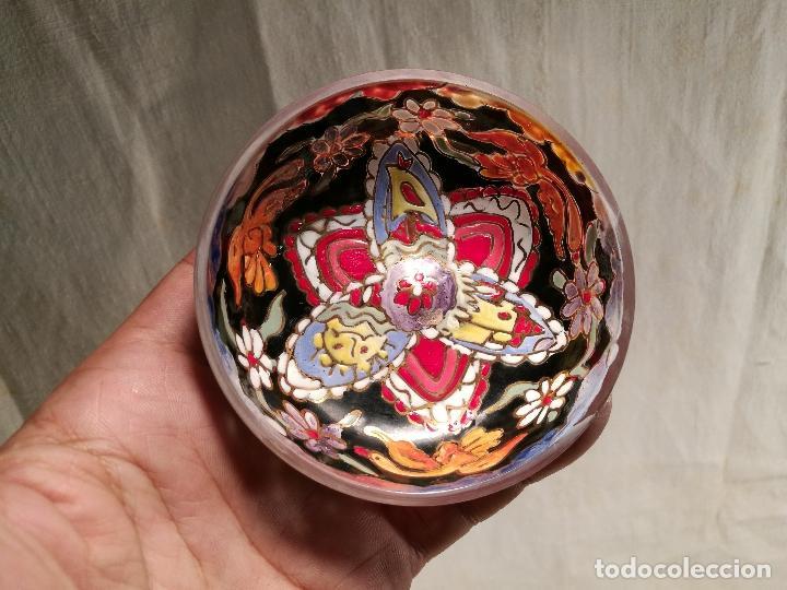 Antigüedades: Cuenco de cristal esmaltado. FIRMADO Royo. PLATO - Foto 13 - 100757143