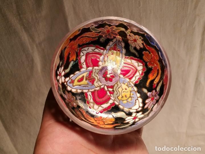 Antigüedades: Cuenco de cristal esmaltado. FIRMADO Royo. PLATO - Foto 14 - 100757143