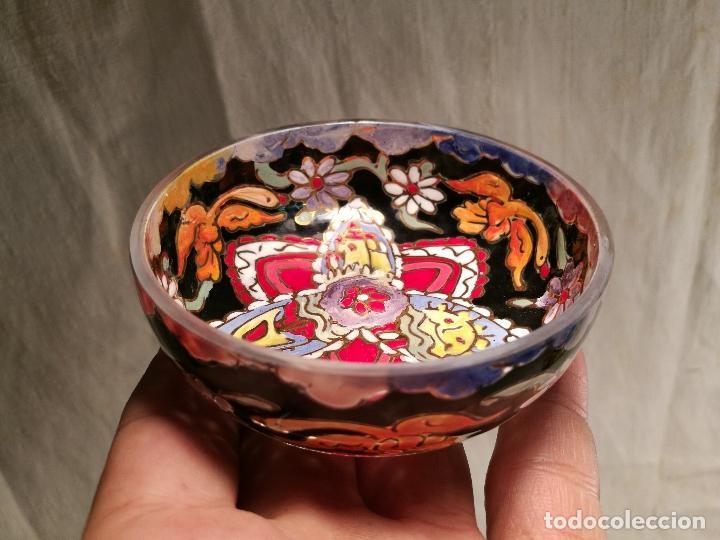 Antigüedades: Cuenco de cristal esmaltado. FIRMADO Royo. PLATO - Foto 16 - 100757143