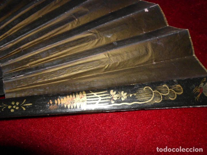 Antigüedades: ANTIGUO ABANICO ORIENTAL CON APLICACIONES DE SEDA - Foto 7 - 100784563