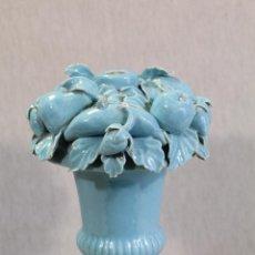Antigüedades: LAMPARA DE CERAMICA DE MANISES. ESMALTADA EN AZUL TURQUESA, . Lote 100873403