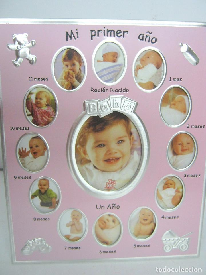 Antigüedades: Original marco portafoto infantil metal - Primer año del bebe mes a mes - ideal regalo bautizo niña - Foto 2 - 100904855