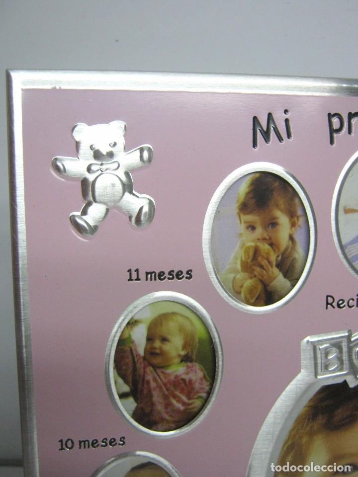 Antigüedades: Original marco portafoto infantil metal - Primer año del bebe mes a mes - ideal regalo bautizo niña - Foto 3 - 100904855