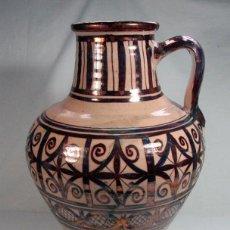 Antigüedades: ANTIGUO CANTARO CERAMICA DE REFLEJOS DORADOS. MANISES. GRAN TAMAÑO: 43 CM. Lote 100935519