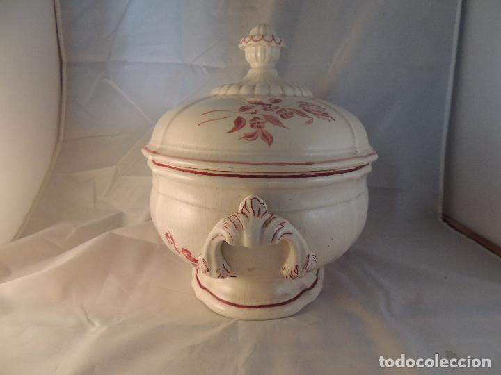 Antigüedades: SOPERA DE CERAMICA ANTIGUA DECORADA A MANO - Foto 5 - 100991019