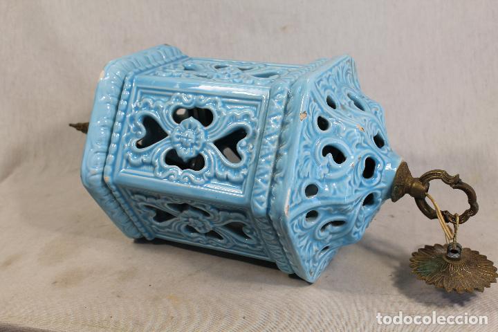 LAMPARA DE TECHO FAROL EN CERAMICA DE MANISES. ESMALTADA EN AZUL TURQUESA, (Antigüedades - Iluminación - Lámparas Antiguas)