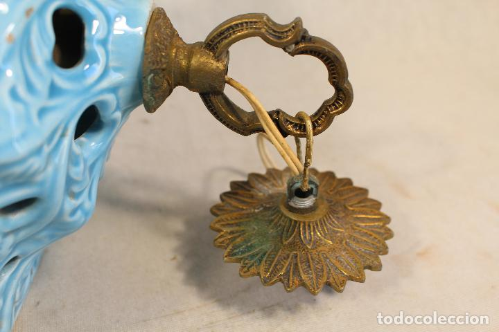 Antigüedades: Lampara de techo farol en ceramica de Manises. Esmaltada en azul turquesa, - Foto 2 - 101044251