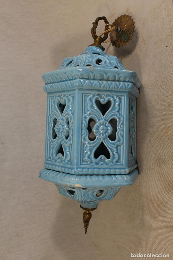 Antigüedades: Lampara de techo farol en ceramica de Manises. Esmaltada en azul turquesa, - Foto 3 - 101044251