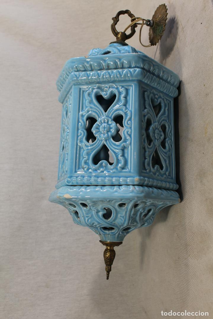 Antigüedades: Lampara de techo farol en ceramica de Manises. Esmaltada en azul turquesa, - Foto 4 - 101044251