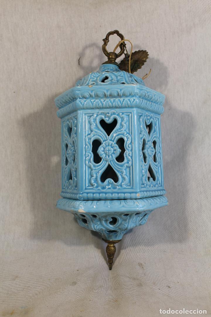 Antigüedades: Lampara de techo farol en ceramica de Manises. Esmaltada en azul turquesa, - Foto 5 - 101044251