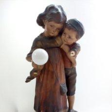 Antigüedades: LÁMPARA MODERNISTA NIÑOS ESTUCO POLICROMADO, ART NOUVEAU, ART DECO, ART NOVEAU. Lote 101058347