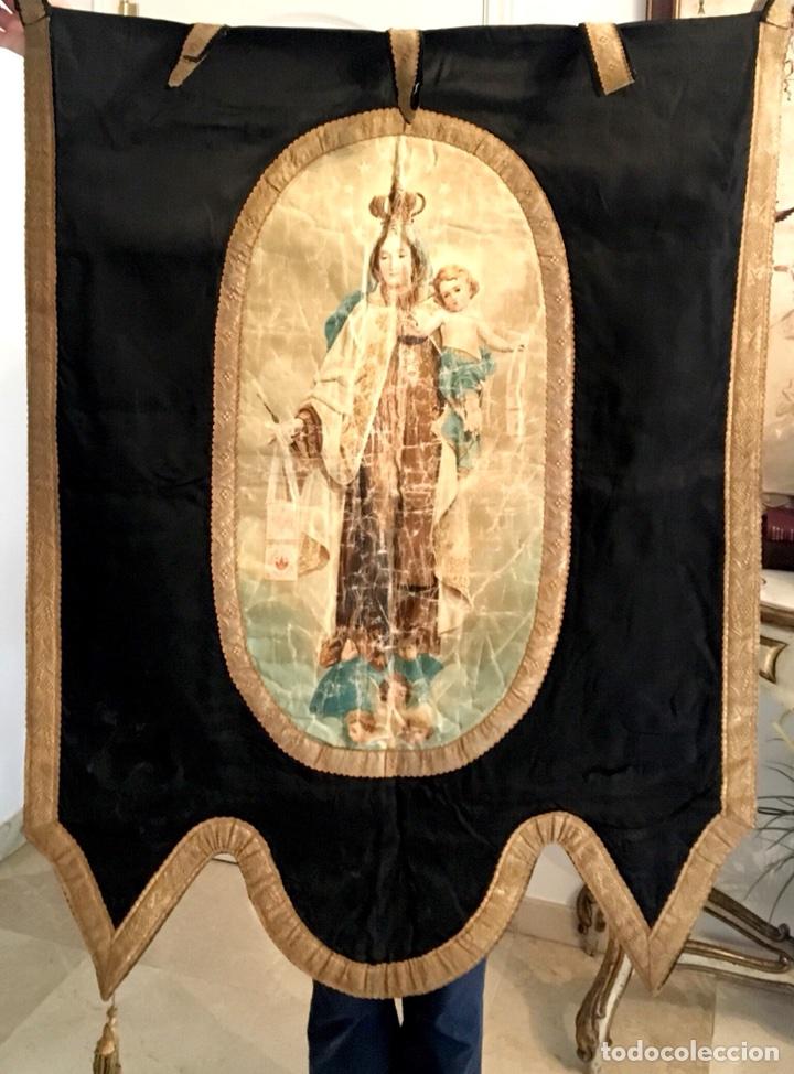 ESTANDARTE MUY ANTIGUO DE LA VIRGEN DEL CARMEN (Antigüedades - Religiosas - Varios)