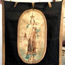 Antigüedades: ESTANDARTE MUY ANTIGUO DE LA VIRGEN DEL CARMEN. Lote 101069880