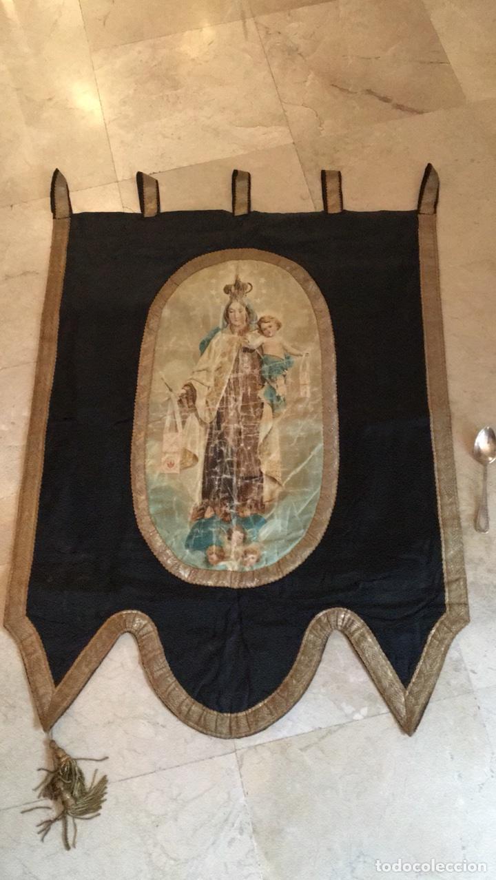 Antigüedades: Estandarte muy antiguo de la virgen del Carmen - Foto 3 - 101069880