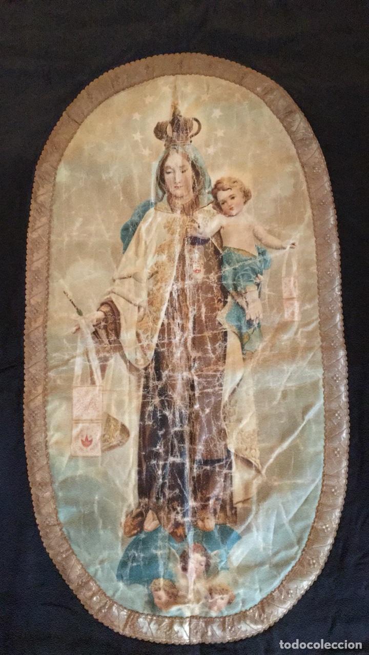 Antigüedades: Estandarte muy antiguo de la virgen del Carmen - Foto 4 - 101069880