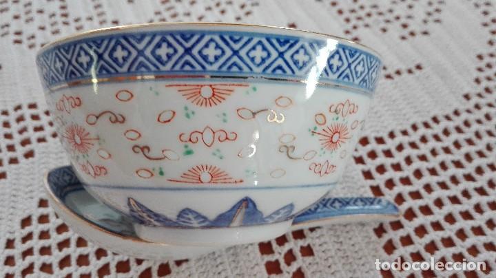 BOL CUENCO DE ARROZ CHINO COMO NUEVO CON CUCHARA DE PORCELANA (Antigüedades - Porcelanas y Cerámicas - China)