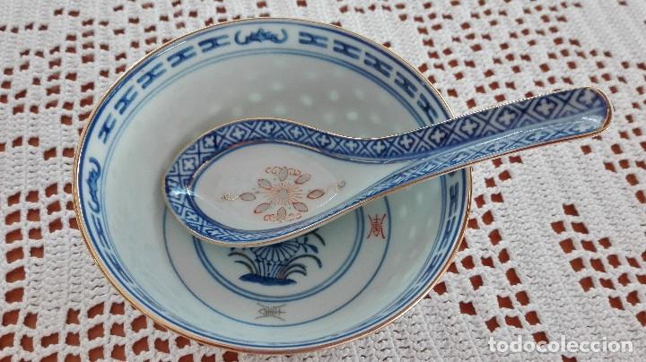 Antigüedades: Bol Cuenco de arroz chino como nuevo con cuchara de porcelana - Foto 2 - 101072959