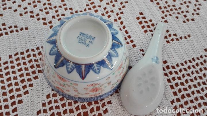 Antigüedades: Bol Cuenco de arroz chino como nuevo con cuchara de porcelana - Foto 3 - 101072959