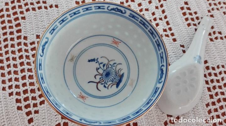 Antigüedades: Bol Cuenco de arroz chino como nuevo con cuchara de porcelana - Foto 4 - 101072959
