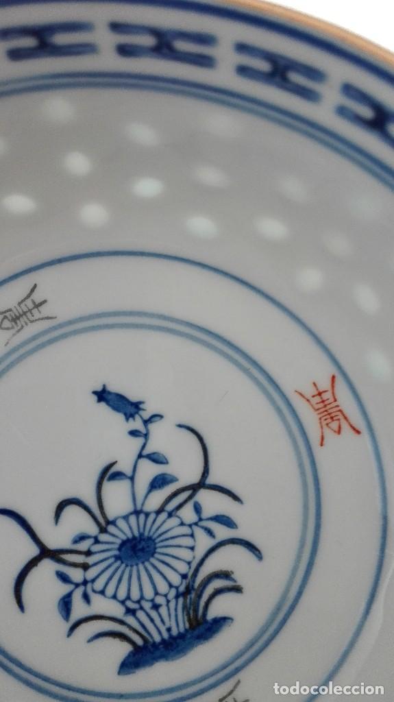 Antigüedades: Bol Cuenco de arroz chino como nuevo con cuchara de porcelana - Foto 5 - 101072959