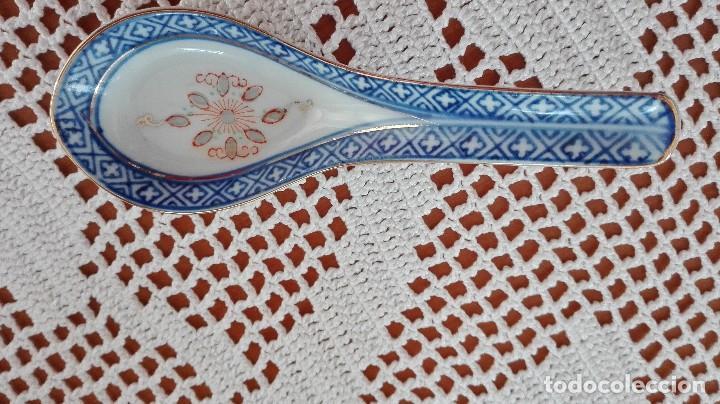 Antigüedades: Bol Cuenco de arroz chino como nuevo con cuchara de porcelana - Foto 6 - 101072959