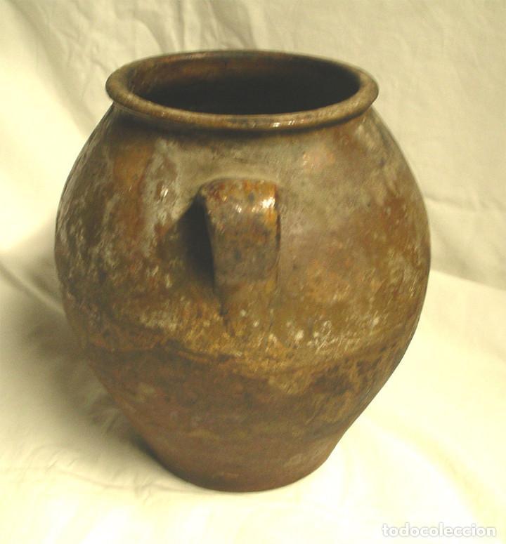 Antigüedades: Orza orejera de Terracota para Adobo Arte Popular. Med. 24 x 28 cm - Foto 2 - 101120151