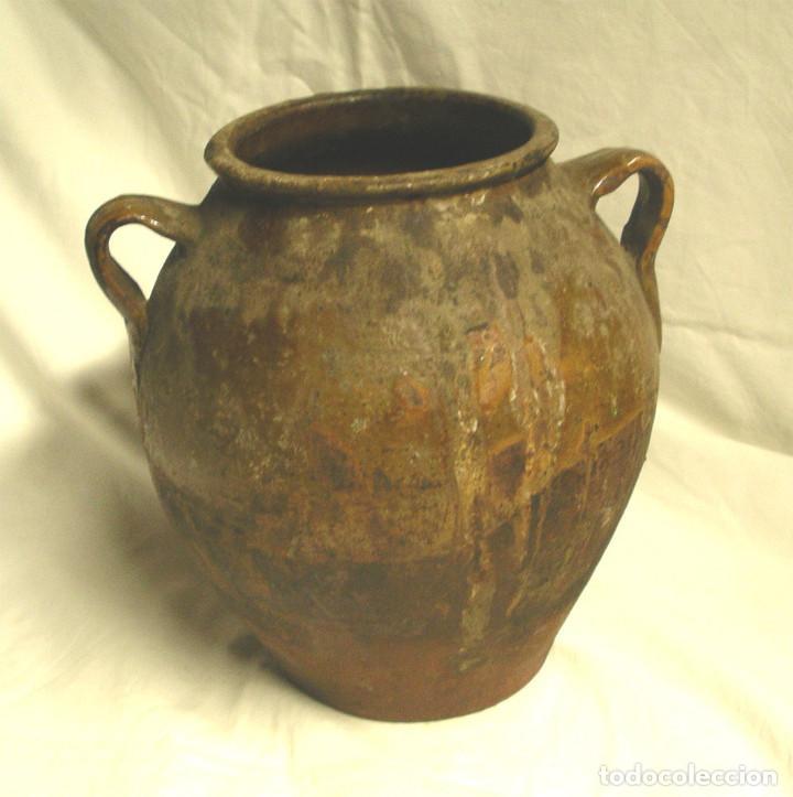 Antigüedades: Orza orejera de Terracota para Adobo Arte Popular. Med. 24 x 28 cm - Foto 6 - 101120151