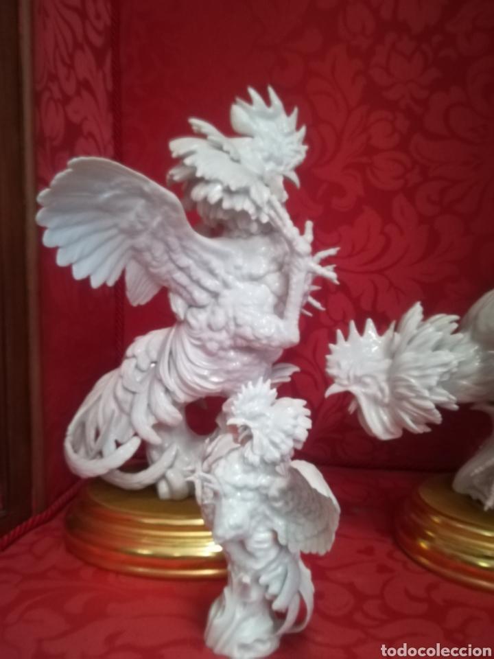 Antigüedades: Pareja gallos grandes porcelana algora perfecto estado - Foto 5 - 148608990