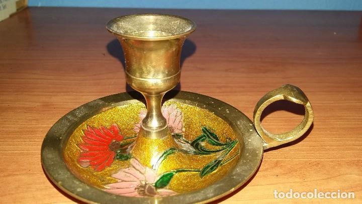 PORTAVELAS QUINQUE ANTIGUO REALIZADO EN LA INDIA (Antigüedades - Iluminación - Quinqués Antiguos)