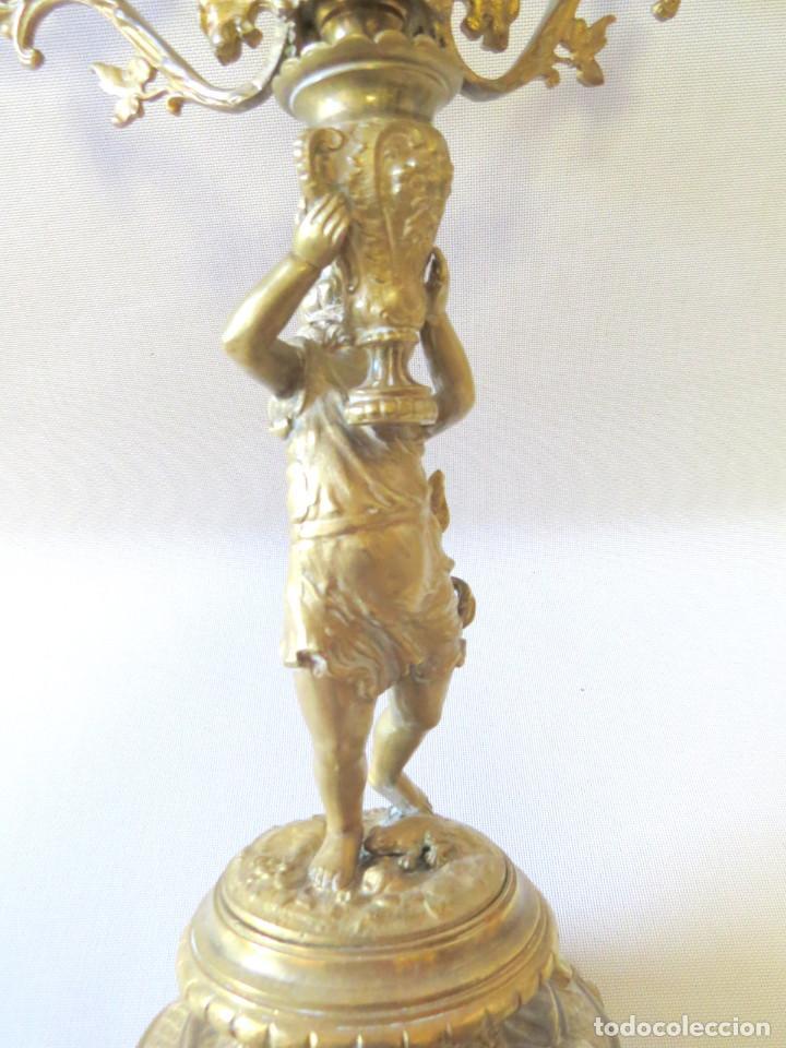 Antigüedades: CANDELABRO MODERNISTA CUATRO LUCES FINALES DEL SIGLO XIX -PRINCIPIO DEL XX - Foto 2 - 101213407