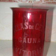 Antigüedades: PORTA VELAS DE CRISTAL VELAS DE CERA GAUNA , VITORIA. Lote 101221059