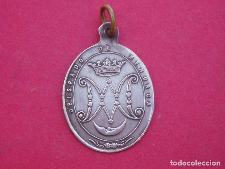 Antigüedades: Medalla de Plata Siglo XIX Virgen de Monte Toro. Obispado de Menorca. - Foto 2 - 101221447