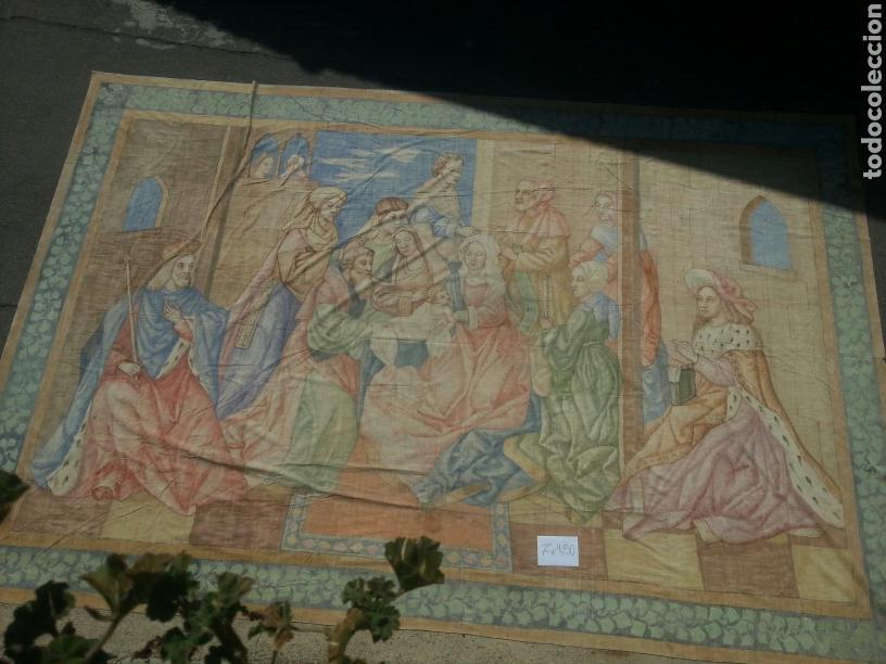 TAPIZ PINTADO SOBRE LONA 7.00 X 4.50 (Antigüedades - Hogar y Decoración - Tapices Antiguos)