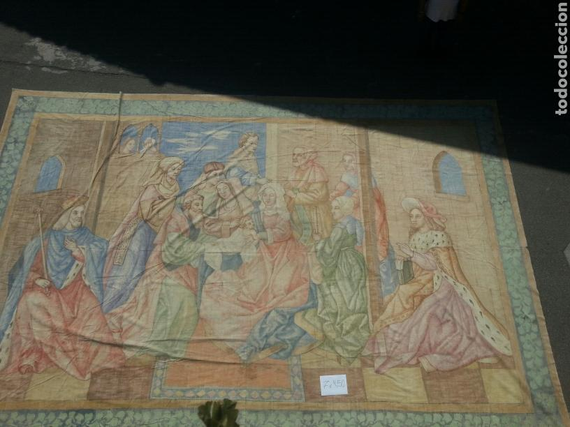 Antigüedades: Tapiz pintado sobre lona 7.00 x 4.50 - Foto 2 - 101253107