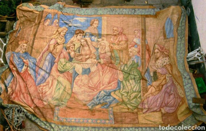 Antigüedades: Tapiz pintado sobre lona 7.00 x 4.50 - Foto 5 - 101253107