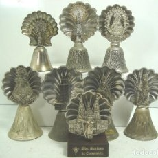 Antigüedades: COLECCION 7 CAMPANA CONCHA SOUVENIR RELIGIOSO-VIRGEN TEXEDA COVADONGA LEON ..ETC - CAMPANILLA MANO. Lote 101261823
