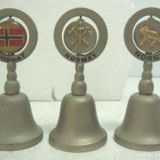 Antigüedades: COLECCION 3X MINI CAMPANA - NORWAY NORUEGA - ASA ARTICULADA - CAMPANILLA MANO - 6 CMS. Lote 101262355