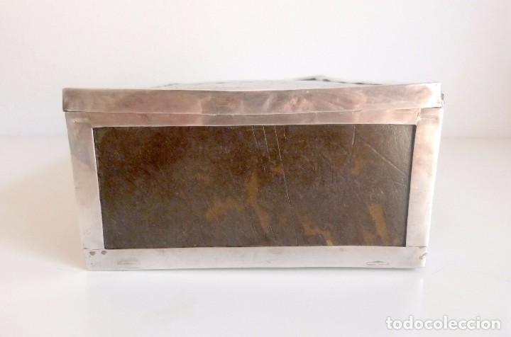 Antigüedades: Caja antigua realizada en carey natural y plata - Foto 4 - 101281183