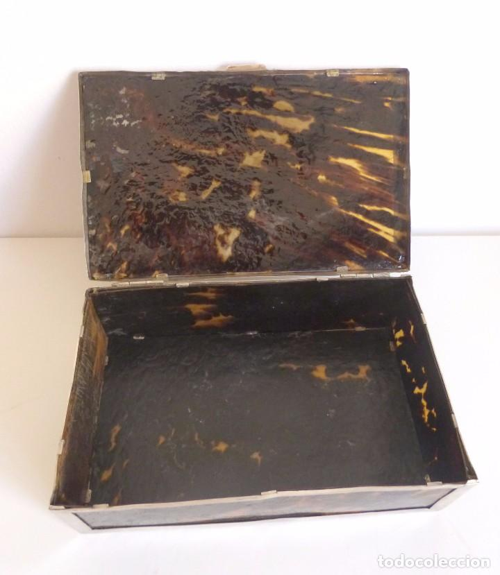 Antigüedades: Caja antigua realizada en carey natural y plata - Foto 6 - 101281183