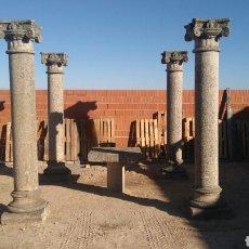 Antigüedades: ANTIGUO CENADOR COMPUESTO POR 4 COLUMNAS DE GRANITO CON BASA Y CAPITEL, MESA DE PIEDRA DE GRANITO. Lote 99400304