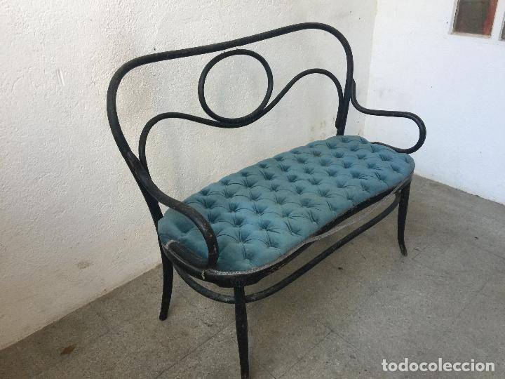 Antigüedades: encantador banco, sillon o sofa Thonet, con capitoné terciopelo. Ppios 1900. Leer mas... - Foto 6 - 101352339