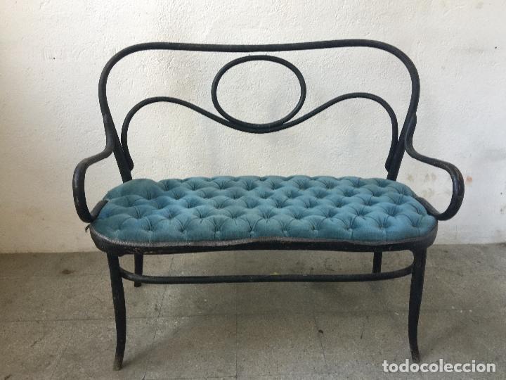 Antigüedades: encantador banco, sillon o sofa Thonet, con capitoné terciopelo. Ppios 1900. Leer mas... - Foto 7 - 101352339
