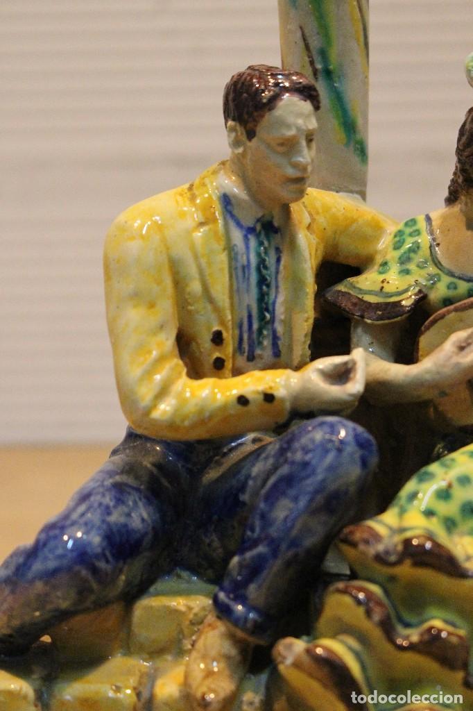 Antigüedades: Cantaor y flamenca a la guitarra. Firmada, Triana siglo XIX - Foto 5 - 101373435