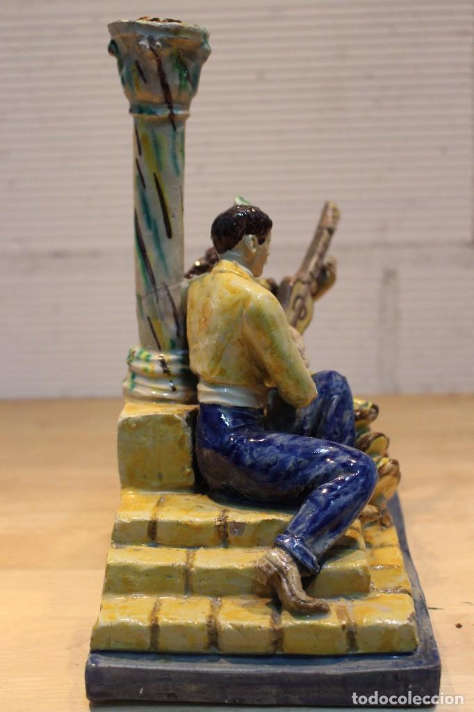 Antigüedades: Cantaor y flamenca a la guitarra. Firmada, Triana siglo XIX - Foto 6 - 101373435