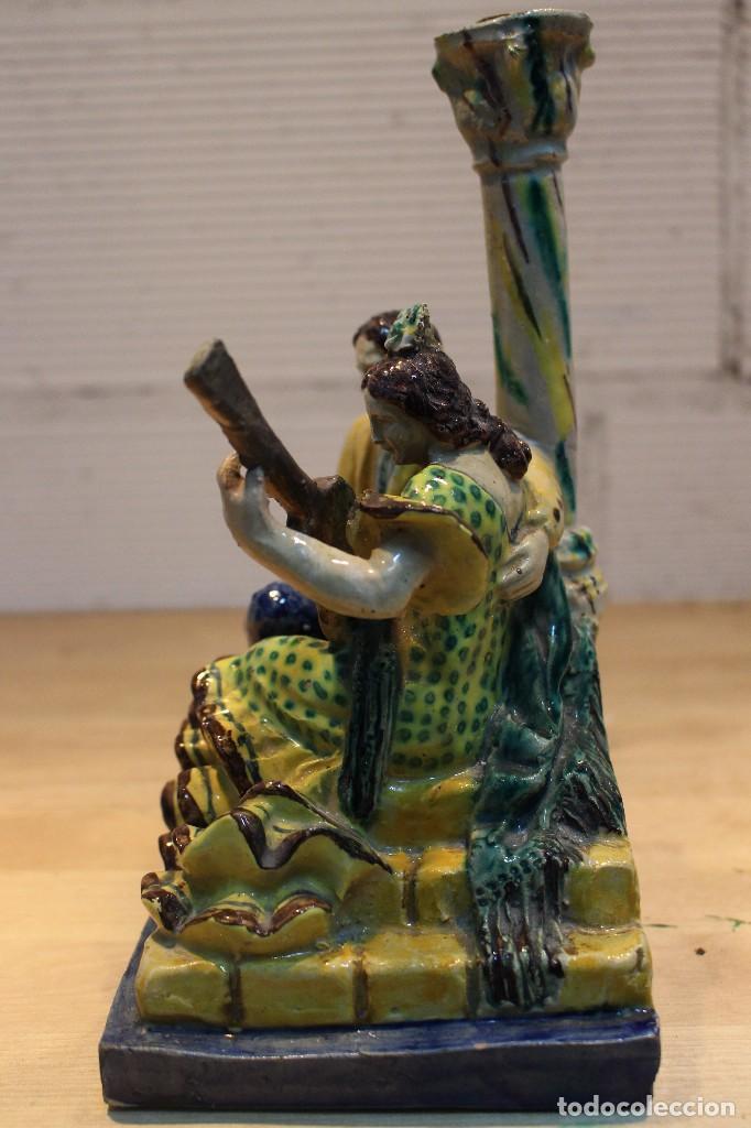 Antigüedades: Cantaor y flamenca a la guitarra. Firmada, Triana siglo XIX - Foto 9 - 101373435