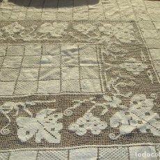 Antigüedades: MANTEL DE LINO DE ENCAJE DE LA TOSCANA SIN USAR. Lote 101391547