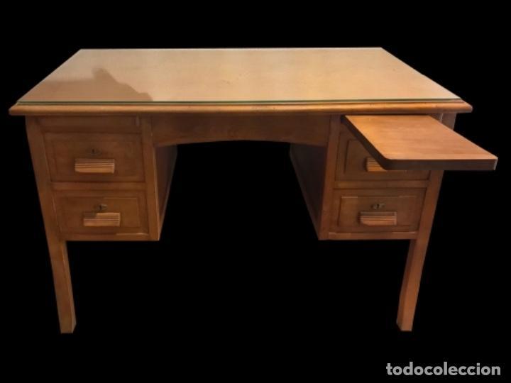 Antigüedades: Precioso escritorio , mesa, antiguo madera de haya, restaurado. - Foto 3 - 101395011