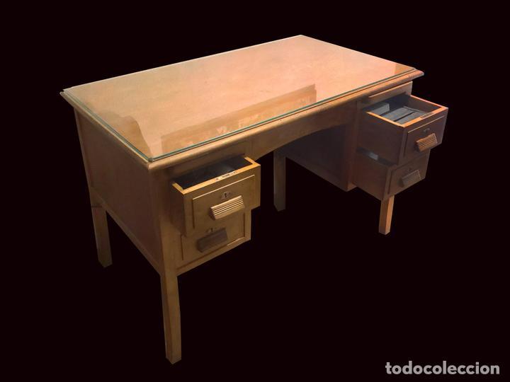 Antigüedades: Precioso escritorio , mesa, antiguo madera de haya, restaurado. - Foto 4 - 101395011