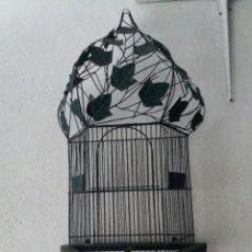 Antigüedades: PRECIOSA JAULA VINTAGE DE FORJA CON HOJAS DE HIEDRA..... Lote 101404059