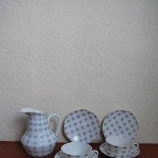 Antigüedades: JUEGO DE CAFÉ O TÉ DE PORCELANA CASTRO - JARRA, TAZAS Y PLATOS - AÑOS 50-60 - SARGADELOS. Lote 142158717